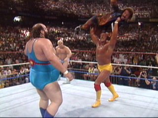 Hogan Chucks Jimmy Hart At Earthquake