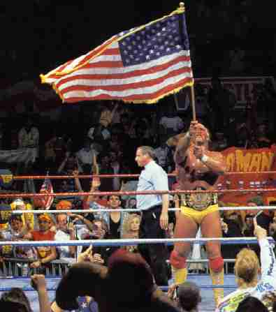 Hogan Waves The American Flag