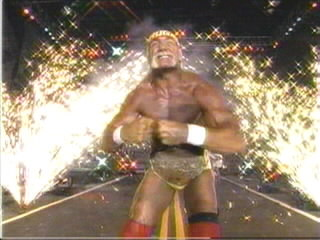 Hogan Poses In Front Of The Fireworks