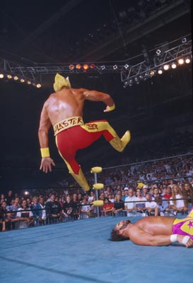Hogan Goes For The Leg Drop On Randy Savage